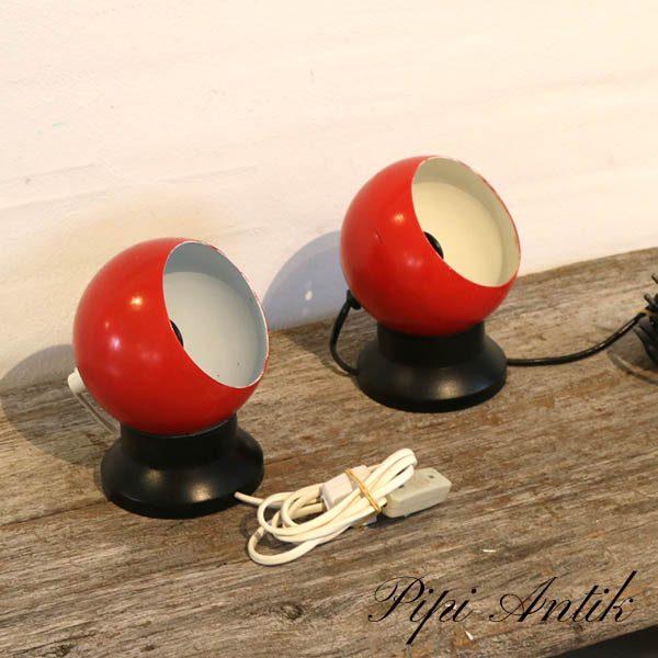 Retro natlampe metal sort rød hvid inderst Ø10xH18 cm