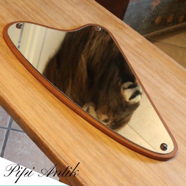 Retro teak spejl trekantet B36 bredest smallest 12xH61 cm
