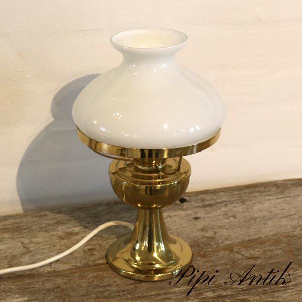 Messing bordlampe med hvidt glasskærm Ø19xH34 cm