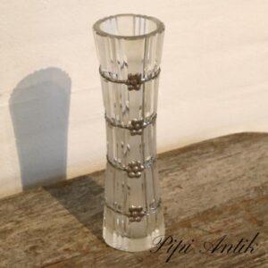 Glasvase med fletsølv blomstpynt Ø8xH28 cm