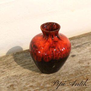 Retro keramik vase orange glasur NN Ø8xH10 cm