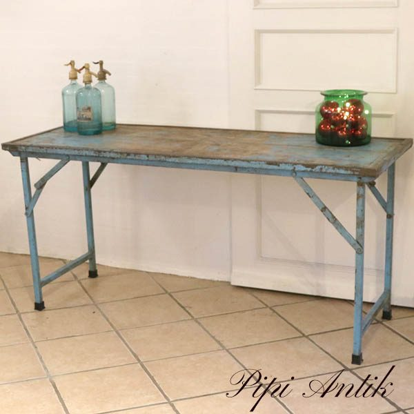 Patineret tyrkis arbejdsbord eller orangeriebord L153xB58,5xH73 cm træbord med metalkant