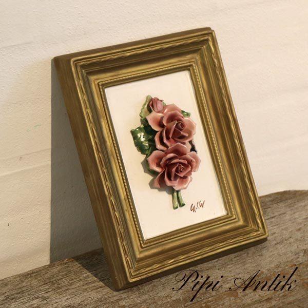 Keramikbillede med roser og guldramme B21xH28xH3 cm