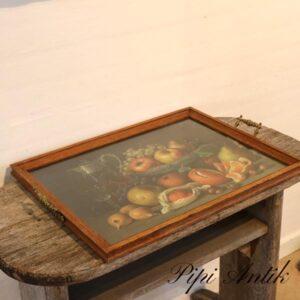 Egetræsbakke med frugtmotiv og glasplade L60x43 cm