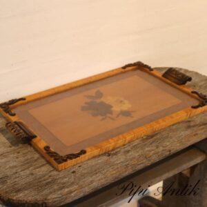 Retro romantisk bakke med glasplade natur elegant B35xL59 cm