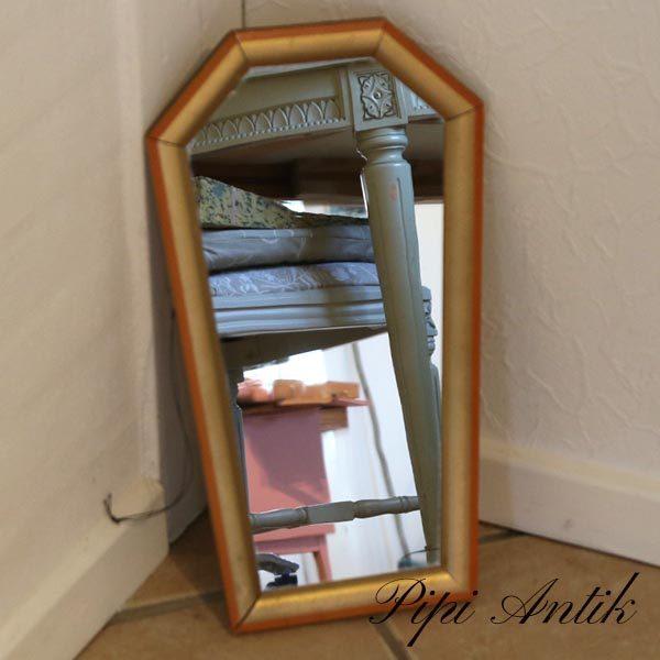Guldspejl med orange kant retro B23xH45 cm