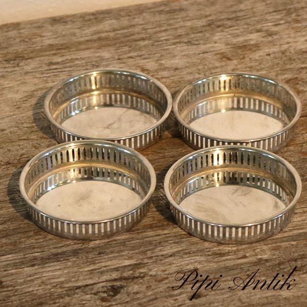 Sølvplet bordskånere med høj romantisk kant Ø8xH2 cm 4 stk i sæt