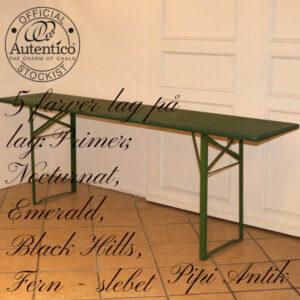Arbejdsbord original på bordben og lag på lag farver på toppladen L220xB50xH76 cm