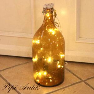 Brun flaske uden lys Ø 16x43 cm H cm excl lys