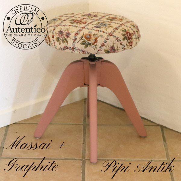 Snurrestol med romantisk rosa blomstret betræ Massai Autentico kalkmaling Ø38xH52 plus mere