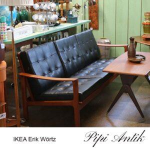 IKEA teak sofa med kunstlæder L190xB65xH72 cm til ryg og sædet 39 cm af Erik Wörtz