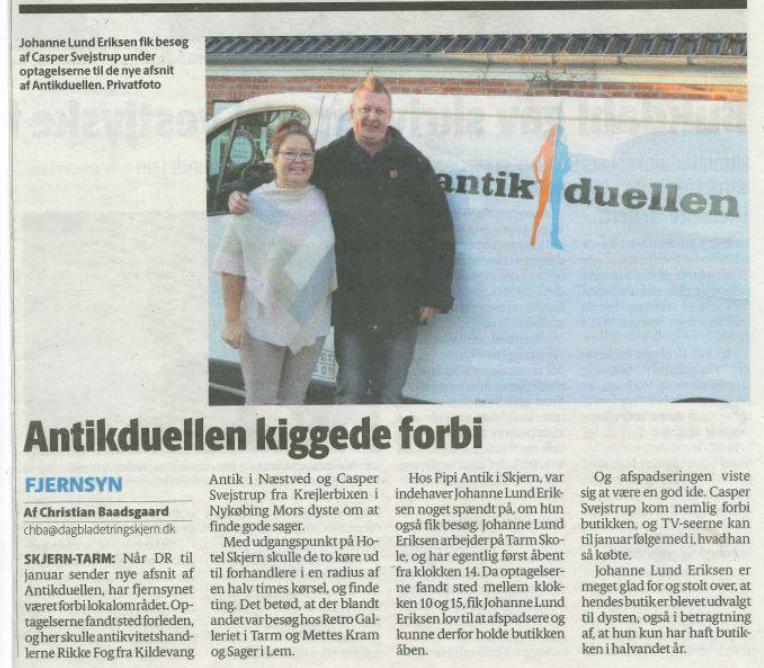 Pipi Antik i Skjern Dagblad og Skjern Ugeposten nov 2016