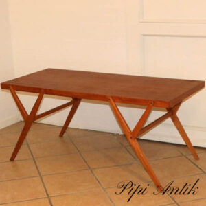 Teak retro sofabord med krydsben L127xB55xH55 cm