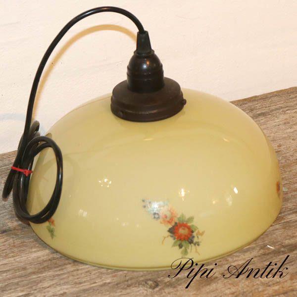 Retro Art Deco glas loftlampe pastel gul med blomster Ø25xH24 cm