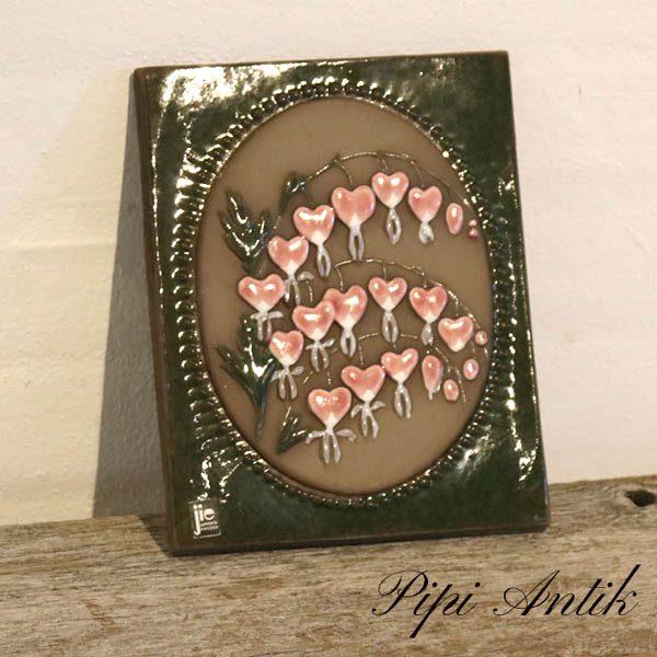 02 JIE keramik billede med hjerteblomster nr 76 B17xH21,5 cm