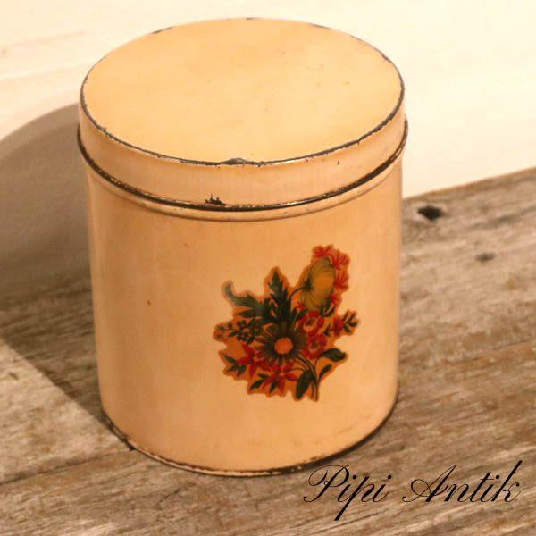 Kagedåse creme med glansbilled Ø16xH18 cm