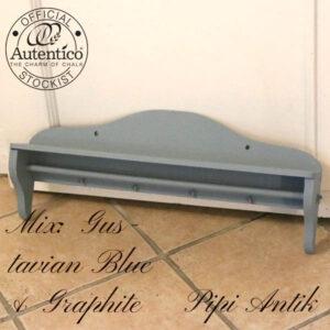 Gustavian Blue mix Graphite viskestykke knage med hylde L65,5xD10,5xH18 cm