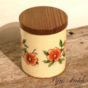 Kaffedåse med valmuer og teak look låg Ø12xH14 cm