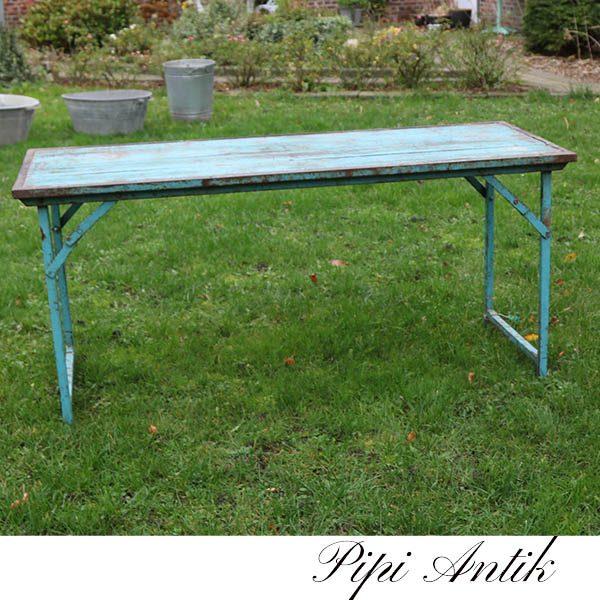 04 Tyrkisblå træ metal arbejdsbord L153x59xH70 cm