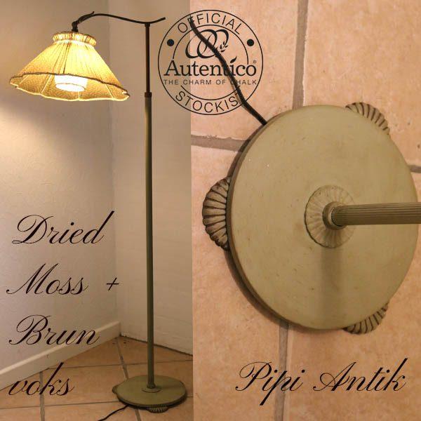 Dried Moss lampe med brun voks Ø40xH140 cm lille hul på lampeskærm
