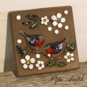 06 DECO retro keramik billede med fuglepar og sommerblomster B15x15 cm