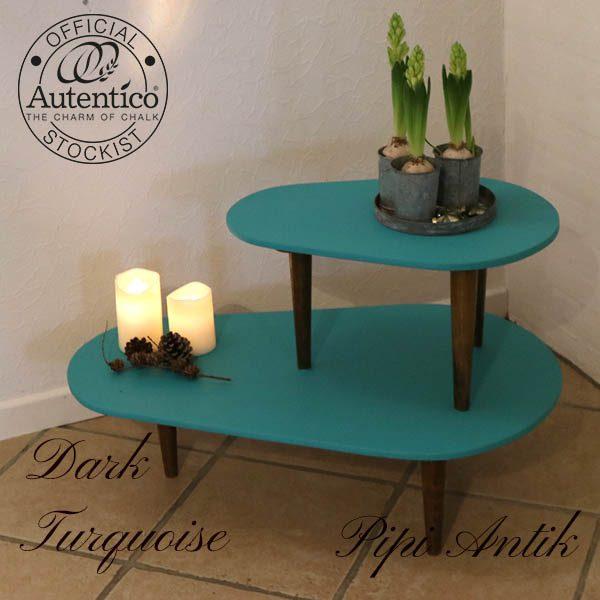 Retro blomsterbord Dark Turquoise Autentico L80xB49xH50 cm