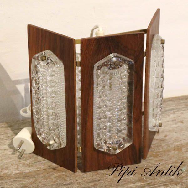 Retro teak væglampe med klar glas indsats og messing beslag L31xH22xD9 cm