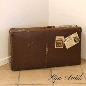 08 Retro papkuffert med læderrem L75xB42,5xD19 cm