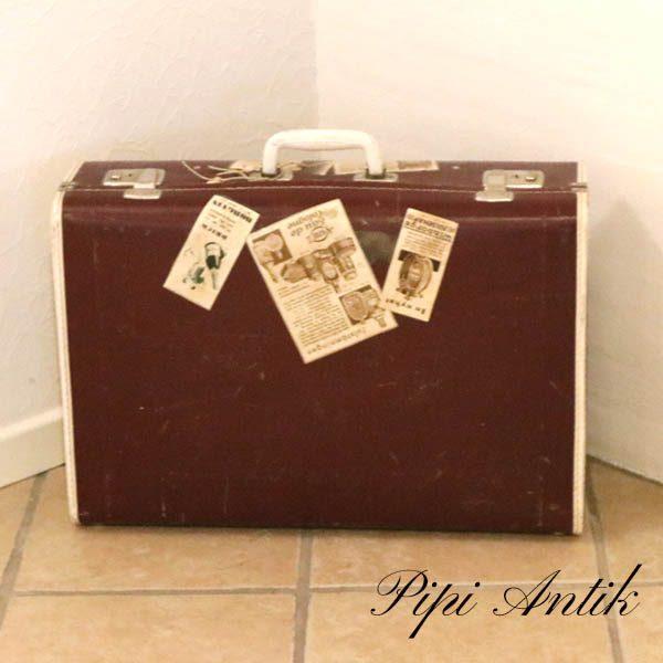 09 Retro rødbrun papkuffert L69,5xB41xD17 cm