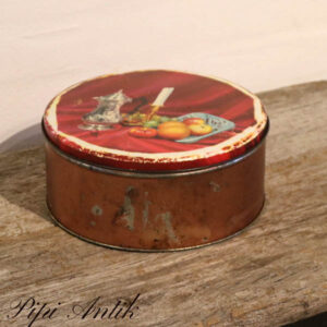 Rød kagedåse med frugter og lys Ø21,5xH9,5 cm