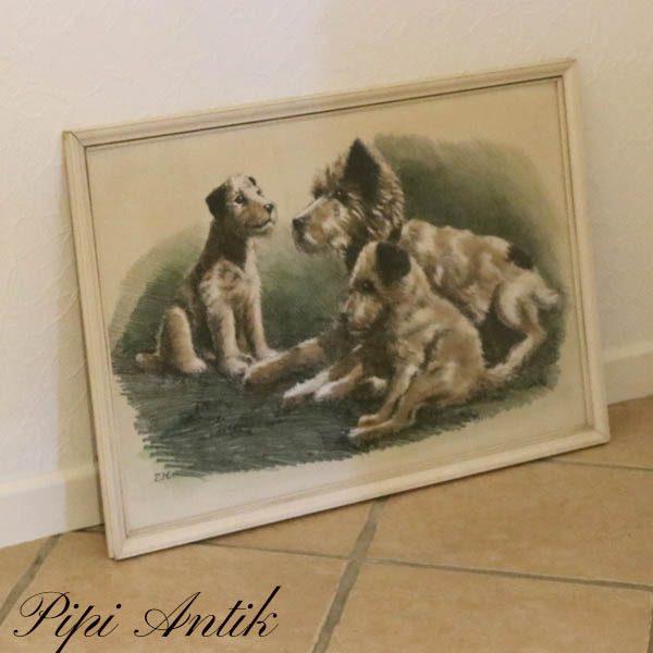 Billed med søde hunde retro L69xH47 cm