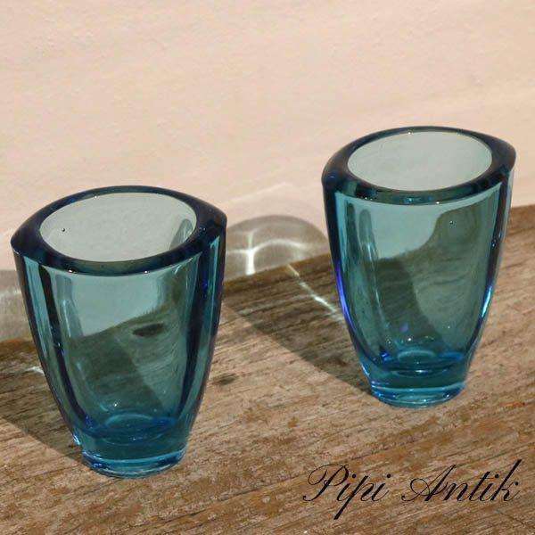 Glasvaser blå Ø9,5xH12 cm