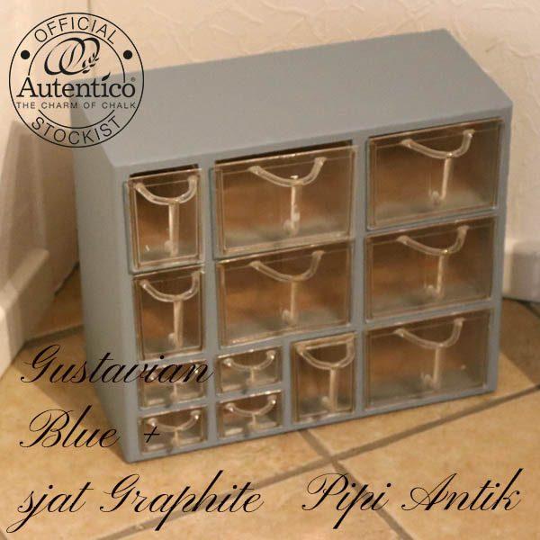 Krydderihylde i Gustavian Blue mix Graphite plathylder intakte L40xD18,5xH34 cm