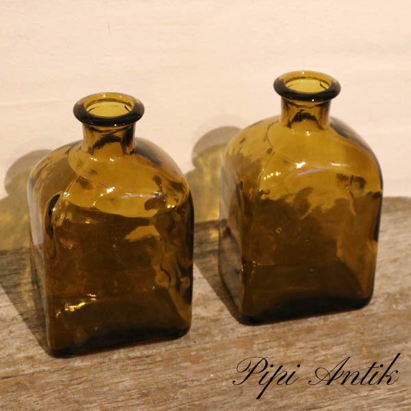 Brun glas karaffel vase L11,5xB8xH18,5 cm