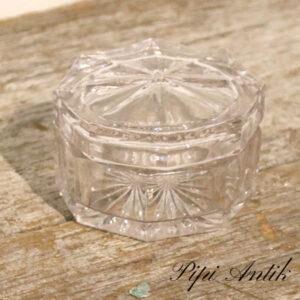Glas smykkeskring med llåg Ø7,5xH5 cm