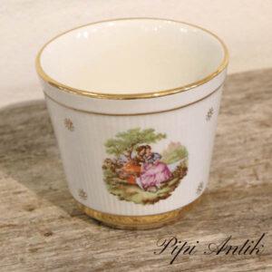 29 Upsala Ekeby romantisk guldkantet blomsterskjuler fin stand Ø12xH11 cm