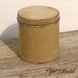 Beige malet dåse patineret Ø15,5xH17 cm