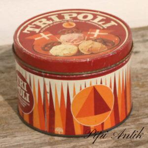 Kagedåse Tripoli rød orange hvid Ø16x11 cm