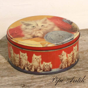 Retro kagedåse med kattekilling motiver rødt ornage blåligt Ø23xH10 cm