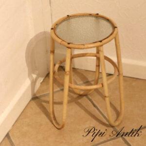 44 Bambus ratan blomserbord frosted glas Ø22xH35 cm