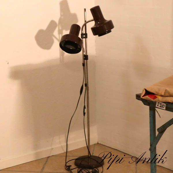 Brun standerlampe stanghøjde 114 Lampeskærm Ø15xH21 cm