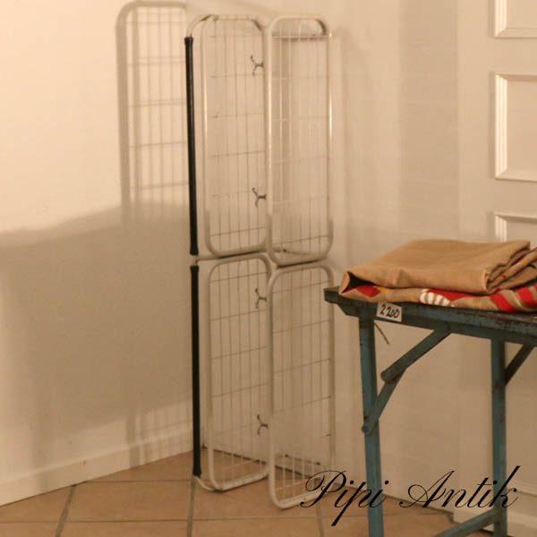 Metal knagerække med hattehylde retro hvid sort og krom L130xD27xH25 cm