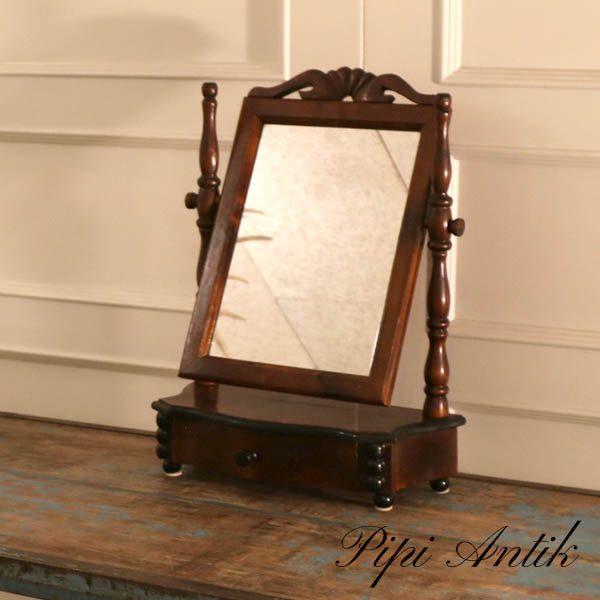 56 Vippespejl Pigtittare spejl mørkt træsort B40,5xD18,5xH54 cm