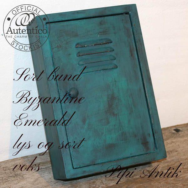 Nøgleskab metal irret look med Autentico B20xH30xD8 cm