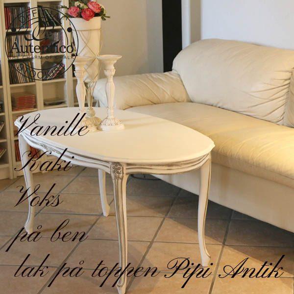 Råhvid sofabord med udsmykning Vanille og Kaki L118xB62xH58 cm