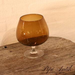 44 Okker brun glas vase udformet som cognac glas Ø14xH19 cm