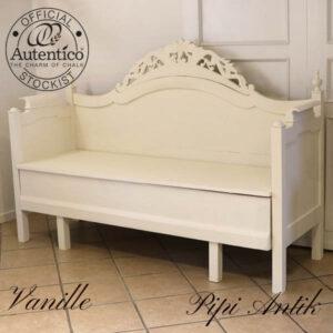 Slagbænk romantisk Vanille Autentico L195xD60xH130 sædet H52 cm