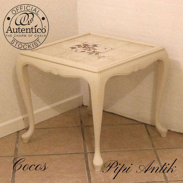 Cocos sofabord med beige kakler l51X51Xh49 cm