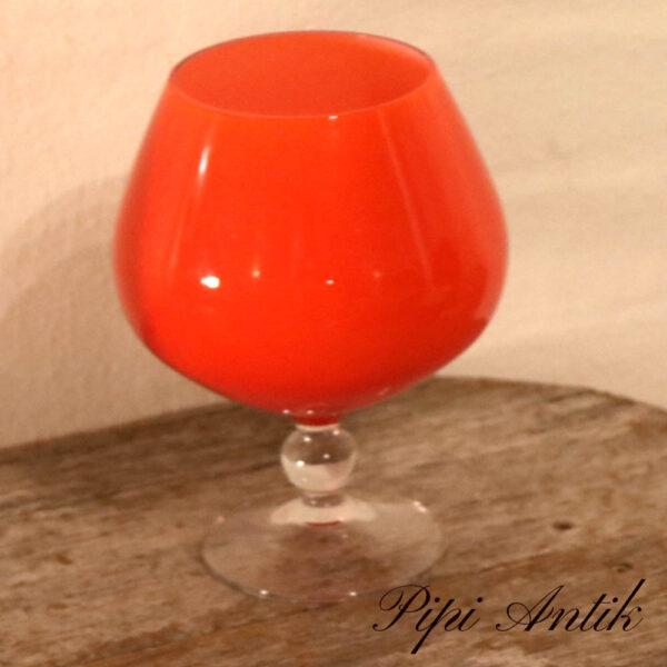 47 Orange glasvase som Cognac glas Ø13xH18cm