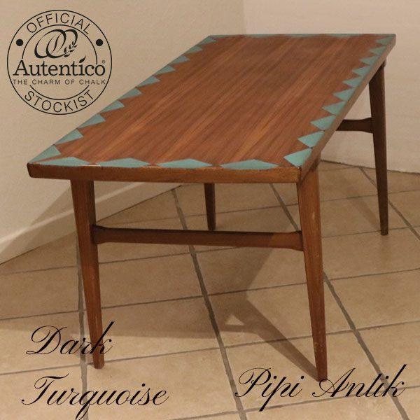 Teak sofabord med Dark Turquoise kant mønster L140xB60xH58 cm